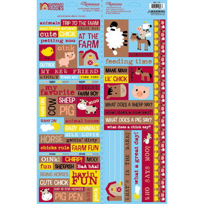Reminisce - Barnyard Buddies Collection - Die Cut Cardstock Stickers - Barnyard Buddies Quote
