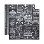 Reminisce - Chalkboard Christmas Collection - 12 x 12 Double Sided Paper - Chalkboard Reindeer Xing