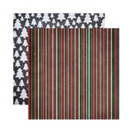 Reminisce - Chalkboard Christmas Collection - 12 x 12 Double Sided Paper - Chalkboard Stripe