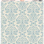 Ella and Viv Paper Company - Slate Blue Damask Collection - 12 x 12 Paper - Four