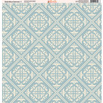 Ella and Viv Paper Company - Slate Blue Damask Collection - 12 x 12 Paper - Seven