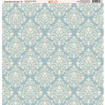 Ella and Viv Paper Company - Slate Blue Damask Collection - 12 x 12 Paper - Ten