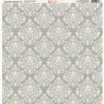 Ella and Viv Paper Company - Slate Blue Damask Collection - 12 x 12 Paper - Twelve