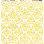 Ella and Viv Paper Company - Sunshine Damask Collection - 12 x 12 Paper - Six
