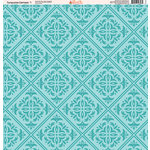 Ella and Viv Paper Company - Turquoise Damask Collection - 12 x 12 Paper - One