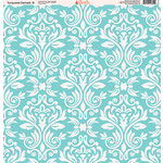 Ella and Viv Paper Company - Turquoise Damask Collection - 12 x 12 Paper - Eight