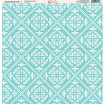Ella and Viv Paper Company - Turquoise Damask Collection - 12 x 12 Paper - Eleven