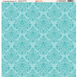 Ella and Viv Paper Company - Turquoise Damask Collection - 12 x 12 Paper - Twelve