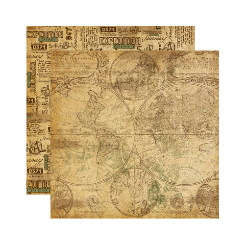 Reminisce - Expedition Destination Collection - 12 x 12 Double Sided Paper - World Map