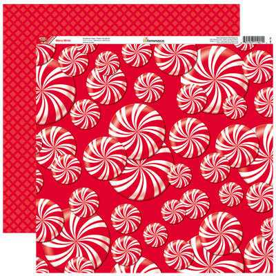 Reminisce - Gingerbread Lane Collection - Christmas - 12 x 12 Double Sided Paper - Merry Mints