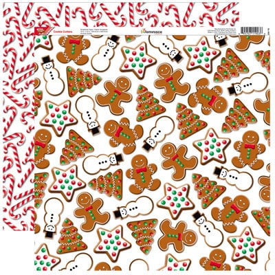 Reminisce - Gingerbread Lane Collection - Christmas - 12 x 12 Double Sided Paper - Cookie Cutters