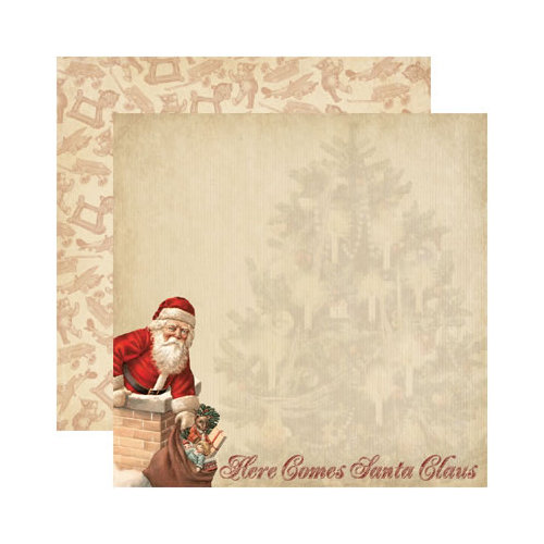 Reminisce - Here Comes Santa Collection - Christmas - 12 x 12 Double Sided Paper - Here Comes Santa