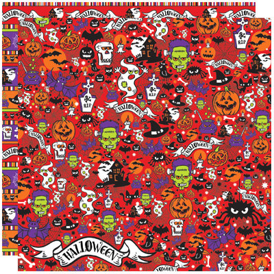 Reminisce - Halloween Party Collection - 12 x 12 Double Sided Paper - All My Rowdy Friends