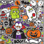 Reminisce - Halloween Party Collection - 12 x 12 Cardstock Stickers - Icons - Gray