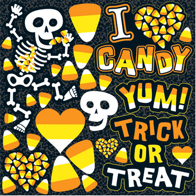 Reminisce - I Heart Candy Collection - Halloween - 12 x 12 Cardstock Stickers - Icon
