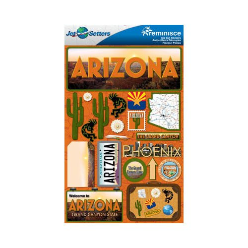 Reminisce - Jetsetters Collection - 3 Dimensional Die Cut Stickers - Arizona