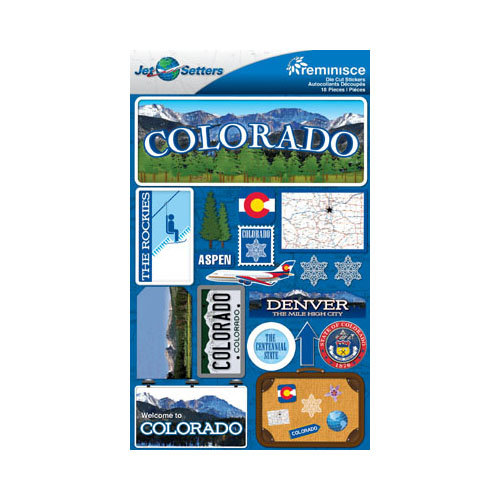 Reminisce - Jetsetters Collection - 3 Dimensional Die Cut Stickers - Colorado