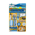 Reminisce - Jetsetters Collection - 3 Dimensional Die Cut Stickers - Connecticut