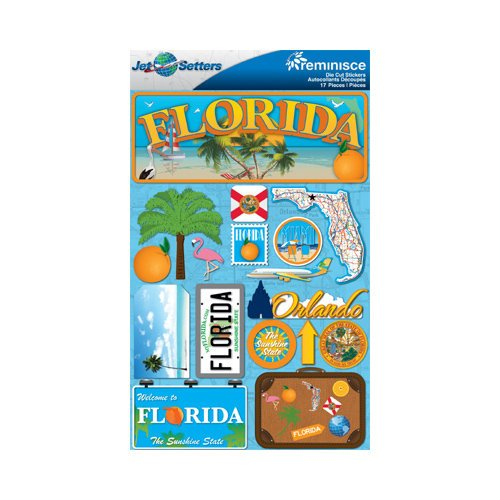 Reminisce - Jetsetters Collection - 3 Dimensional Die Cut Stickers - Florida