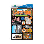 Reminisce - Jetsetters Collection - 3 Dimensional Die Cut Stickers - Georgia