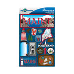Reminisce - Jetsetters Collection - 3 Dimensional Die Cut Stickers - Maine