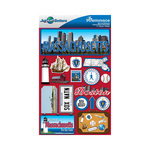 Reminisce - Jetsetters Collection - 3 Dimensional Die Cut Stickers - Massachusetts