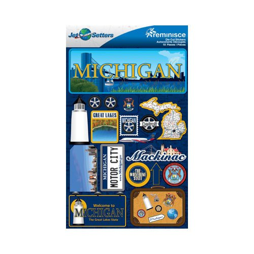 Reminisce - Jetsetters Collection - 3 Dimensional Die Cut Stickers - Michigan