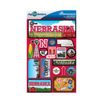 Reminisce - Jetsetters Collection - 3 Dimensional Die Cut Stickers - Nebraska