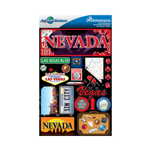Reminisce - Jetsetters Collection - 3 Dimensional Die Cut Stickers - Nevada