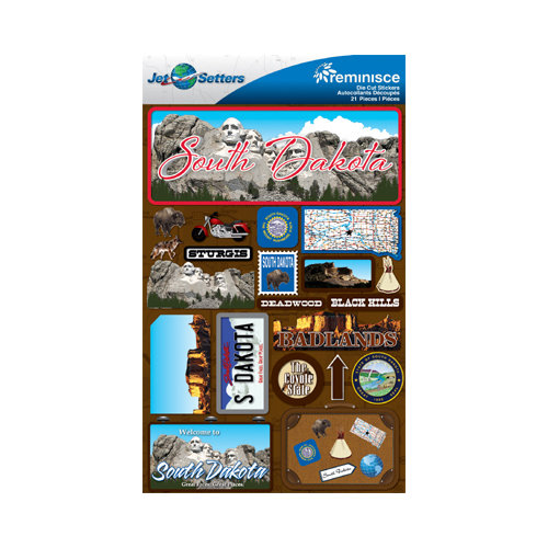 Reminisce - Jetsetters Collection - 3 Dimensional Die Cut Stickers - South Dakota