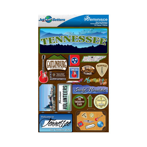 Reminisce - Jetsetters Collection - 3 Dimensional Die Cut Stickers - Tennessee