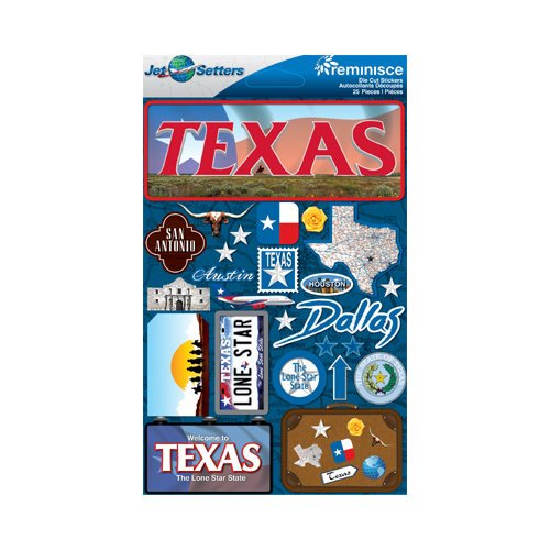 Reminisce - Jetsetters Collection - 3 Dimensional Die Cut Stickers - Texas