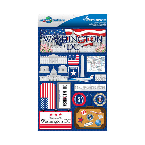 Reminisce - Jetsetters Collection - 3 Dimensional Die Cut Stickers - Washington D.C.