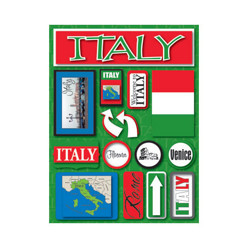 Reminisce - Jetsetters Collection - 3 Dimensional Die Cut Stickers - Italy