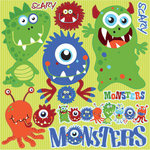 Reminisce - Monsters Collection - 12 x 12 Die Cut Cardstock Stickers - Monsters Icon