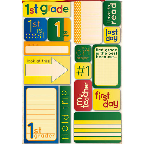 Reminisce - Making the Grade Collection - Die Cut Cardstock Stickers - First Grade Quote
