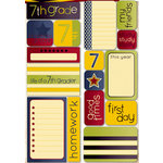 Reminisce - Making the Grade Collection - Die Cut Cardstock Stickers - Seventh Grade Quote