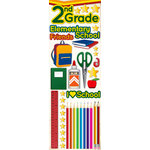 Reminisce - Making the Grade Collection - 3 Dimensional Die Cut Stickers - Second Grade