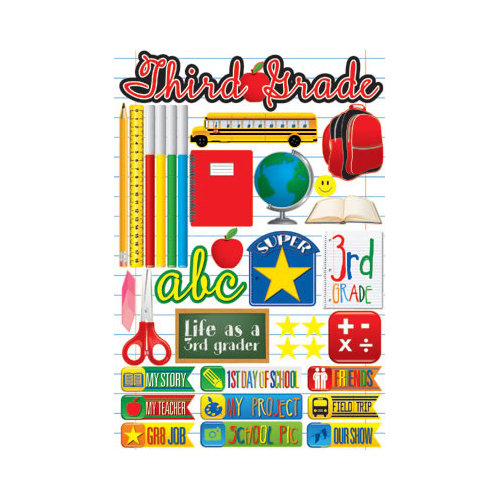 Reminisce - Making the Grade Collection - 3 Dimensional Die Cut Stickers - Third Grade 2