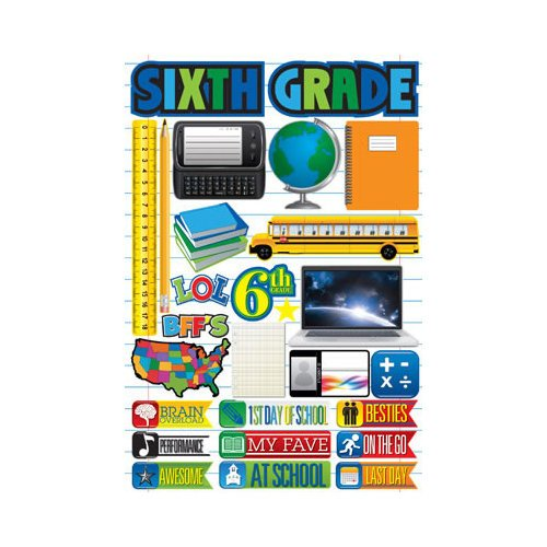 Reminisce - Making the Grade Collection - 3 Dimensional Die Cut Stickers - Sixth Grade 2