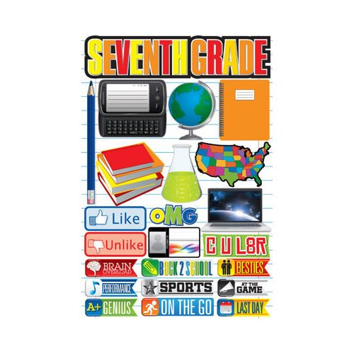 Reminisce - Making the Grade Collection - 3 Dimensional Die Cut Stickers - Seventh Grade 2