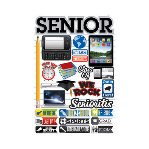 Reminisce - Making the Grade Collection - 3 Dimensional Die Cut Stickers - Senior 2