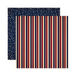 Reminisce - Party in the USA - 12 x 12 Double Sided Paper - American Stripe