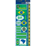Reminisce - Passports Collection - Cardstock Stickers - Brazil
