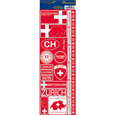 Reminisce - Passports Collection - Cardstock Stickers - Switzerland