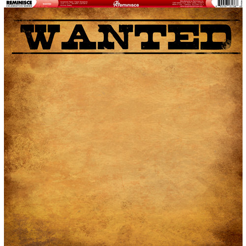 Reminisce - Western Collection - 12 x 12 Double Sided Paper - Wanted