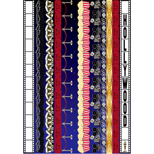 Reminisce - Hollywood Collection - Die Cut Cardstock Stickers - Border Strip
