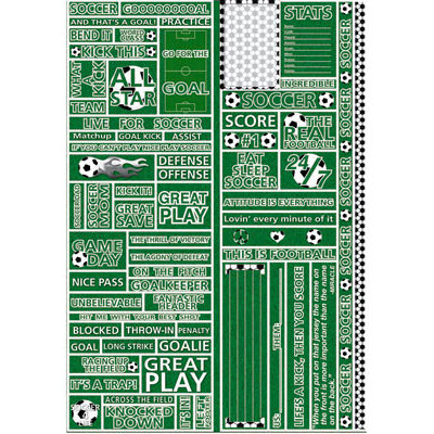 Reminisce - Real Sports Collection - Die Cut Cardstock Stickers - Soccer Quote