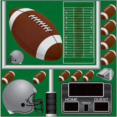 Reminisce - Real Sports Collection - 12 x 12 Die Cut Cardstock Stickers - Football