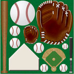 Reminisce - Real Sports Collection - 12 x 12 Die Cut Cardstock Stickers - Baseball